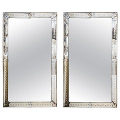 Hollywood Regency Venetian Mirrors with Etched Borders
