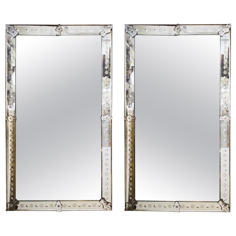 Hollywood Regency Venetian Mirrors with Etched Borders For Sale