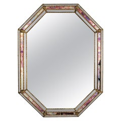 Hollywood Regency Venetian Modern Octagonal Mirror with Iridiscent Glass Accents