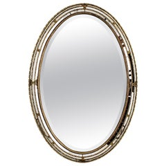 Hollywood Regency Venetian Style Beveled Oval Mirror with Brass Accents, 1950s