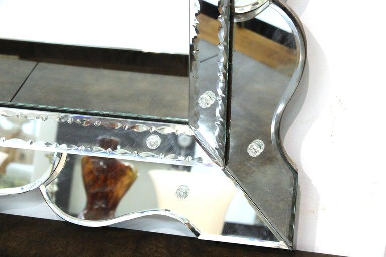 Glass Hollywood Regency Venetian Wall Mirror For Sale