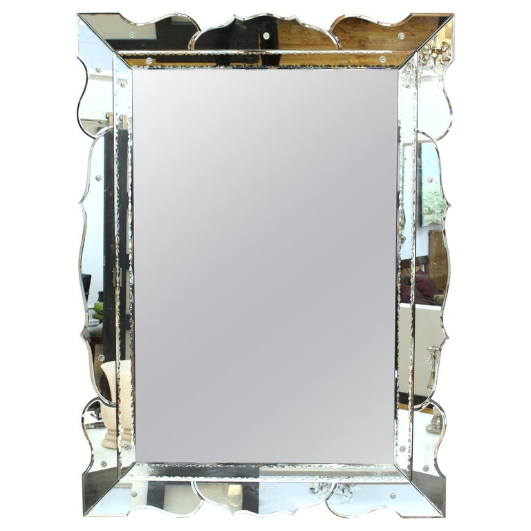 Hollywood Regency Venetian Wall Mirror For Sale