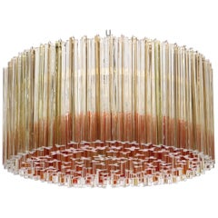 Hollywood Regency Venini Chandelier with Sommerso Trilobo Glass Rods