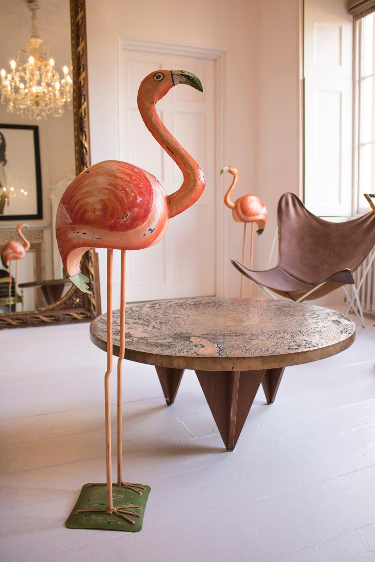 Hollywood Regency Vintage Flamingo Sculpture, Hand-Painted Metal Statue In Distressed Condition For Sale In Oxfordshire, GB