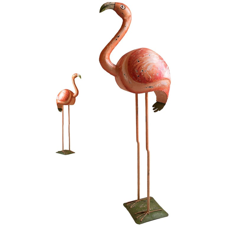 Hollywood Regency Vintage Flamingo Sculpture, Hand-Painted Metal Statue For Sale