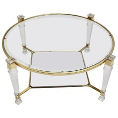 Hollywood Regency Vintage Gold Lucite Coffee Table in the Style of Pierre Vandel