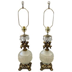 Hollywood Regency Vintage Round Crystal with Cherubs Table Lamps, Pair