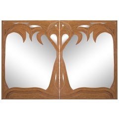 Hollywood Regency Vivai del Sud Pair of Bamboo Palmtree Mirrors, Italy, 1970s