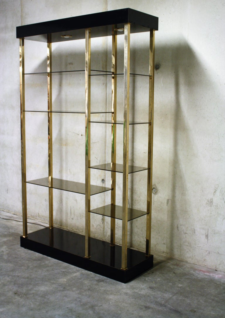 Hollywood regency style wall unit produced by Belgochrom.  This piece is made of 23-karat gold layered metal with a lacquered wooden top and bottom with two lights.  The multi level shelves are made of smoked glass.  The shelve is in good