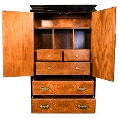 Hollywood Regency Walnut Burl Tallboy Chest by Ray Sabota for Century Furniture