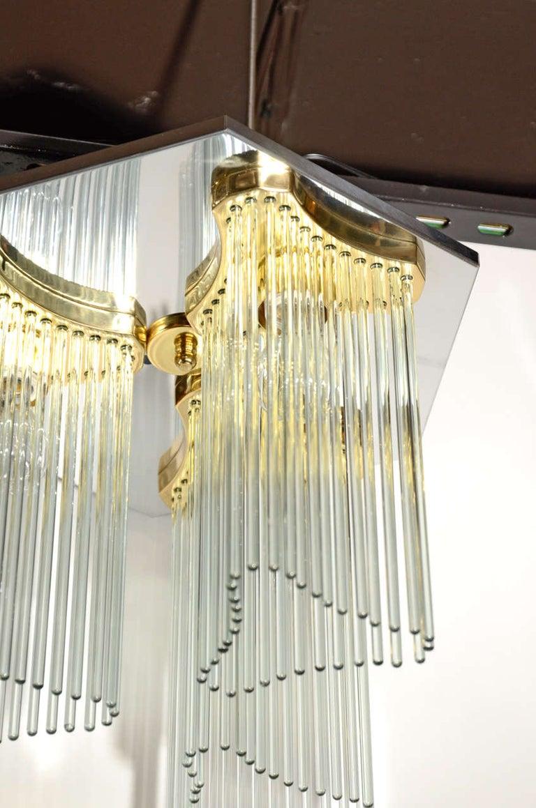 Italian Hollywood Regency Waterfall Glass Rod Chandelier by Gaetano Sciolari For Sale