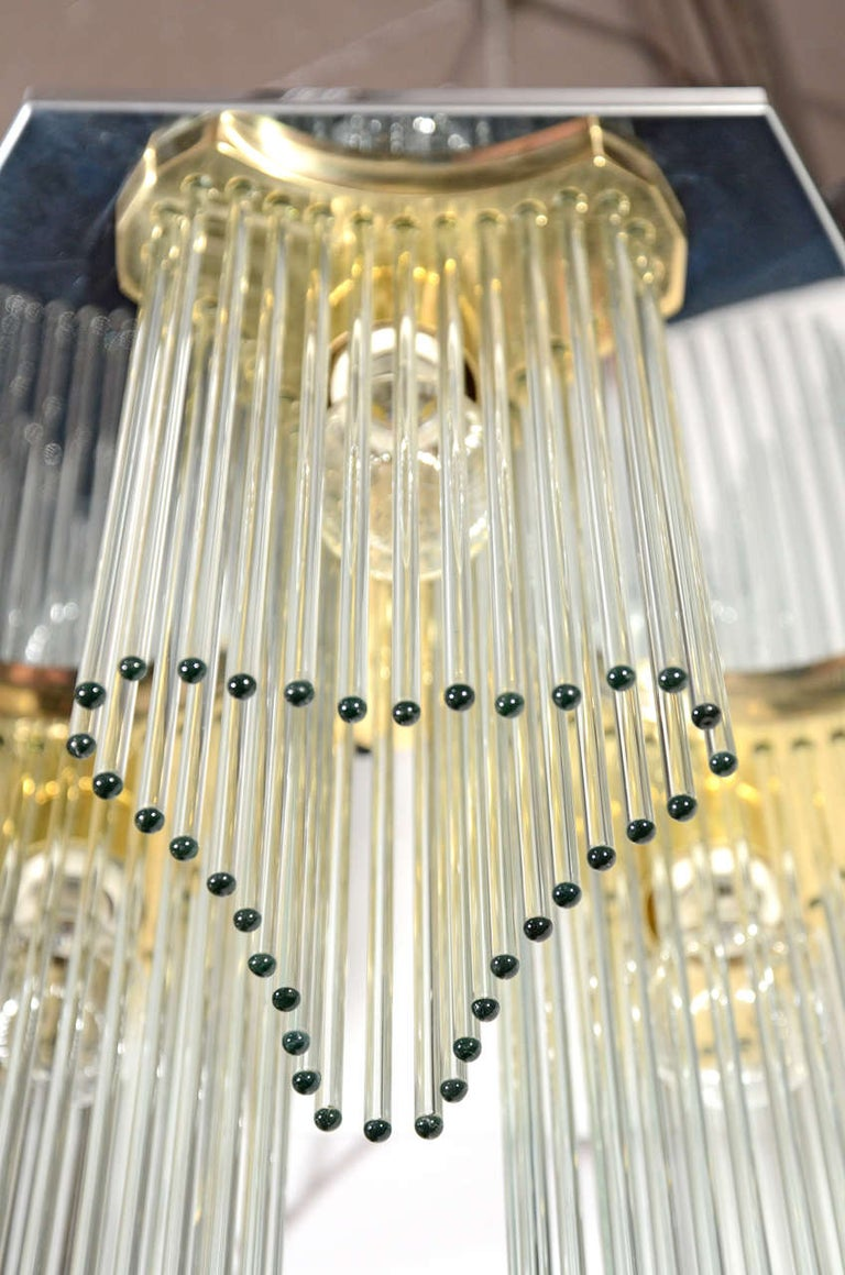 Hollywood Regency Waterfall Glass Rod Chandelier by Gaetano Sciolari In Excellent Condition For Sale In Stamford, CT