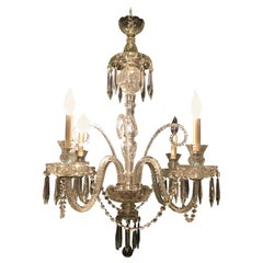 Hollywood Regency Waterford Style Crystal 5-Light Chandelier