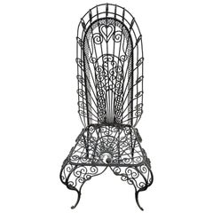 Hollywood Regency Weaved Iron High Back Chair
