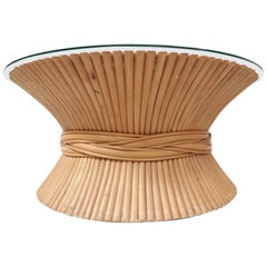 Hollywood Regency Wheat Sheaf Coffee Table by McGuire