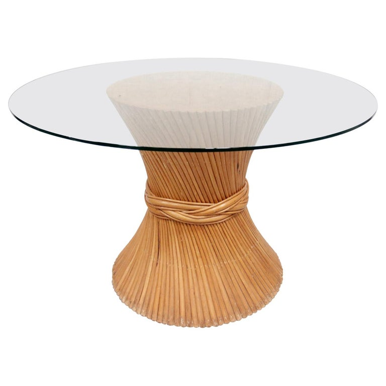 Hollywood Regency Wheat Sheaf Dining Table by McGuire For Sale