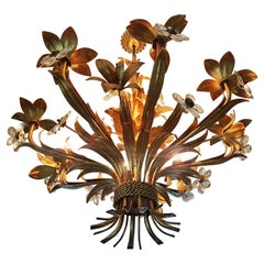 Hollywood Regency Wheat Sheaf Gold Gilt Midcentury Chandelier, Italy, 1940s