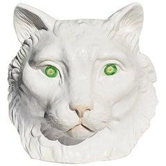 Hollywood Regency White and Green Italian Ceramic Glazed Cat Head Planter
