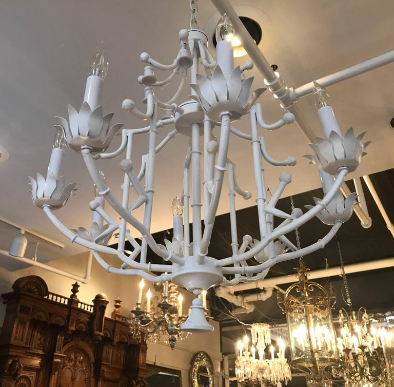 Hollywood regency white enameled metal chandelier for sale at 1stdibs a whimsical asian style white enamel chandelier the pagoda top with wooden white bell drops aloadofball Image collections