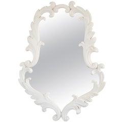 Hollywood Regency White Gessoed Carved Oak Wall Mirror