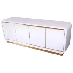 Hollywood Regency White Lacquered Bamboo and Brass Credenza, Newly Refinished