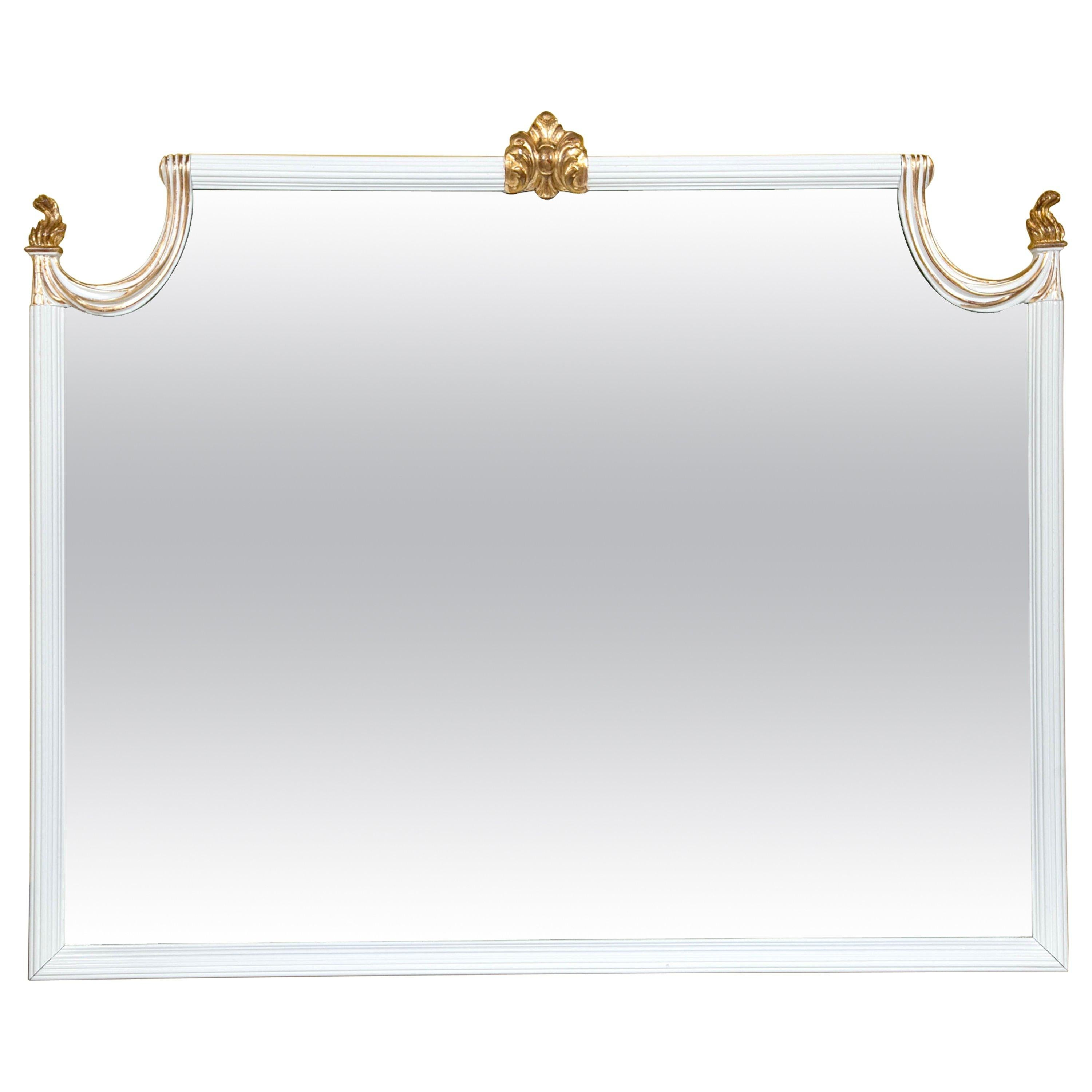 Hollywood Regency White Lacquered Giltwood Wall Console Mirror Paint Decorated