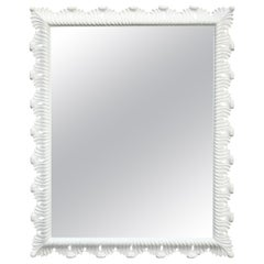 Hollywood Regency White Lacquered Scalloped Mirror
