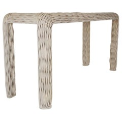Hollywood Regency White Rattan Woven Console Table or Sofa Table, Midcentury