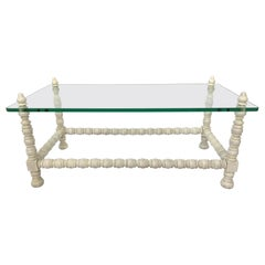 Hollywood Regency Wood and Glass Bobbin Leg Coffee Table