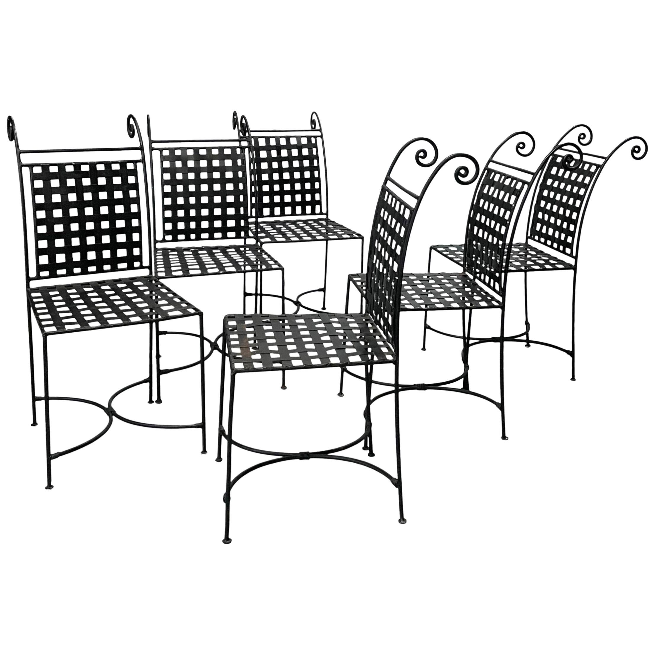 Hollywood Regency Woven Metal Dining Chairs Set of Six