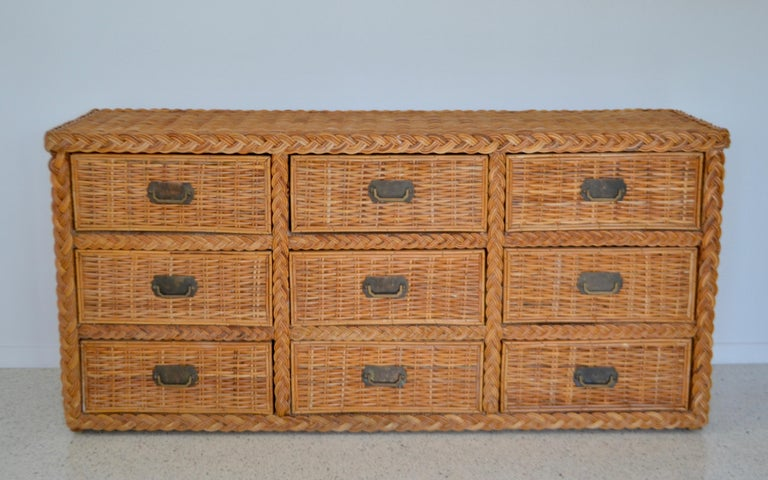 American Hollywood Regency Woven Rattan Dresser or Sideboard For Sale