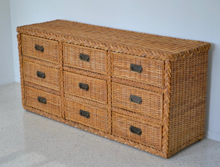 Hollywood Regency Woven Rattan Dresser or Sideboard In Good Condition For Sale In West Palm Beach, FL
