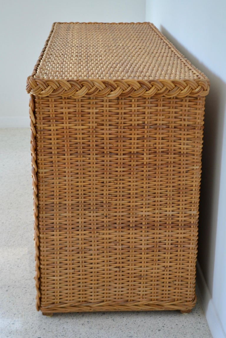Mid-20th Century Hollywood Regency Woven Rattan Dresser or Sideboard For Sale