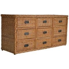 Hollywood Regency Woven Rattan Dresser or Sideboard
