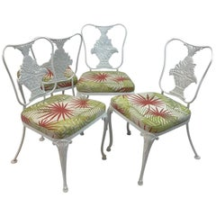 Hollywood Regency Wrought Iron Dining Chair Set