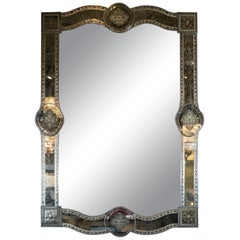 Hollywood Reverse Eglomise Chain Beveled Smoked and Antiqued Mirror