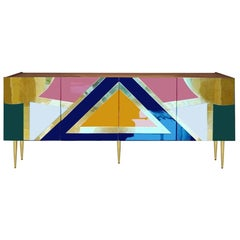 Hollywood Style High Gloss Lacquered Wood and Brass Sideboard Yucatan