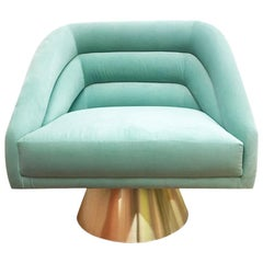 Hollywood Style Mint Velvet and Polished Brass Base Accent Swift Chair Chicago