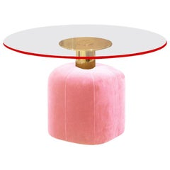 Hollywood Style Pink Velvet and Polished Brass Base Dining Table Miami
