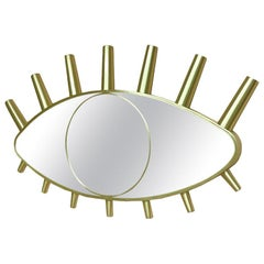 Hollywood Style Polished Brass Wall Mirror Nile