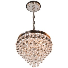 Hollywood Teardrop and Crystal Ball Chandelier in Nickel and Handblown Glass