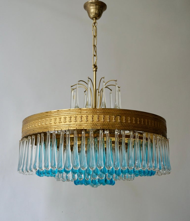 Hollywood Regency Hollywood Teardrop and Crystal Ball Chandelier with Brass and Hand Blown Glass For Sale