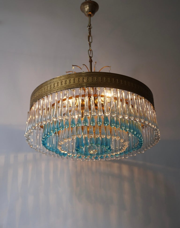 Italian Hollywood Teardrop and Crystal Ball Chandelier with Brass and Hand Blown Glass For Sale