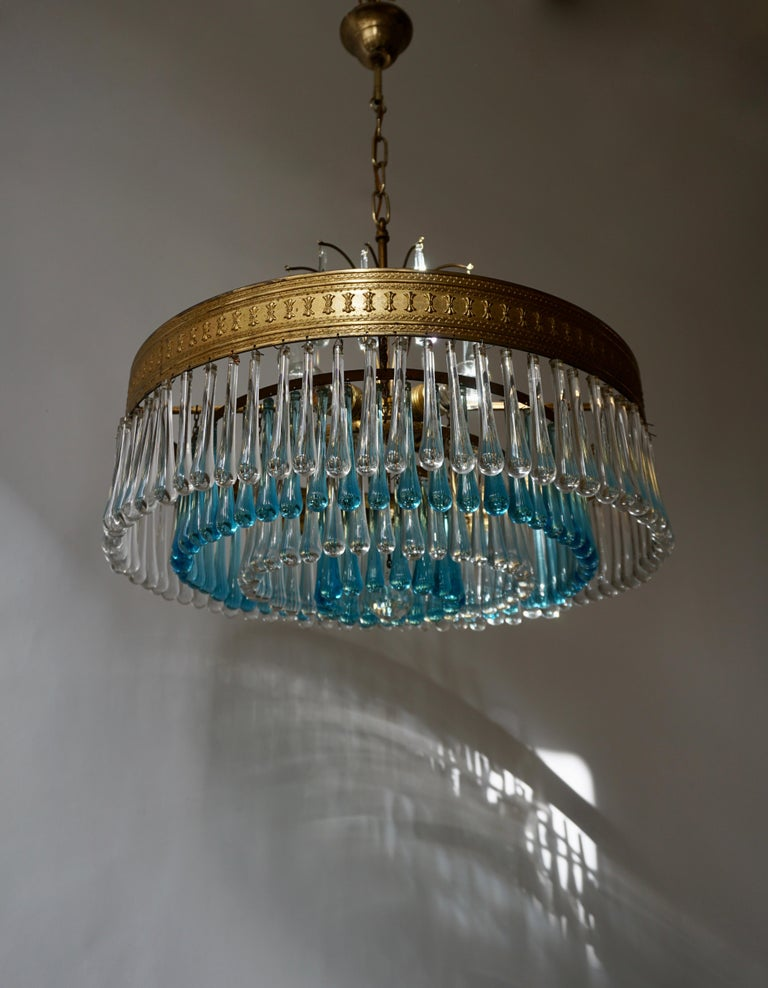 20th Century Hollywood Teardrop and Crystal Ball Chandelier with Brass and Hand Blown Glass For Sale