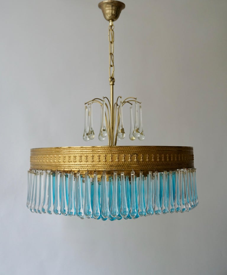 Hollywood Teardrop and Crystal Ball Chandelier with Brass and Hand Blown Glass For Sale 1