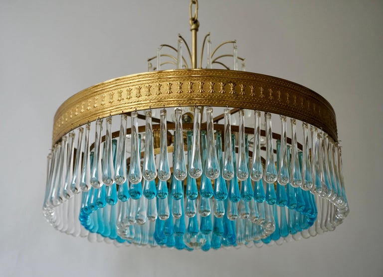 Hollywood Teardrop and Crystal Ball Chandelier with Brass and Hand Blown Glass For Sale 2