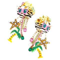 Hollywood Themed Enamel Dangle Statement Earrings By Lunch At The Ritz, 1980s