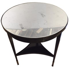 Hollywooed Regency Style Ebonized Silver Gilt Mirror Top Center or End Table