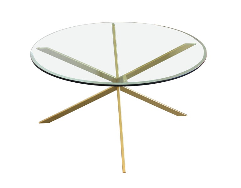 Bronze or steel frame dining table with glass or marble top. Custom sizes, finishes, and materials available. Can also be made as a side or cocktail table.