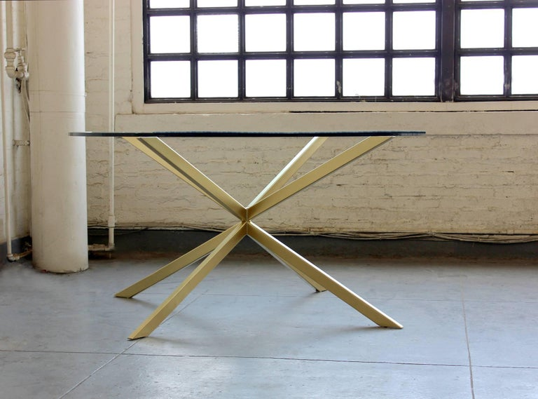 Modern Holmby mid century style bronze and glass dining table For Sale